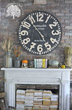 Always keep track of the time in style with a custom made DIY clock over the mantle. | fall craft