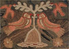 American hooked rug depicting two lovebirds,
