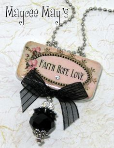 Faith Hope Love Domino Pendant Necklace with Bead Charms.