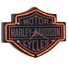 Harley-Davidson® Etched Bar & Shield Shaped Neon Clock - http://clocks.pinterestbuys.com/retro/harley-davidson-etched-bar-shield-shaped-neon-clock/