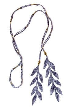 Corda Leaf Lariat Necklace in Slate Gray Silk with Ethiopian Brass beads, designed by Kelli Ronci.