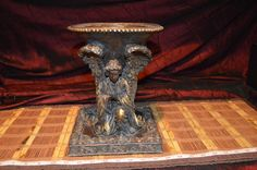 """Double Praying Kneeling Angels Brown Candle/Bowl Stand 10""""x7 3/4"""""""