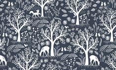 BLUE MOON Folkstone Navy, Dear Stella Design, Rustic Deer Fabric, Woodland Baby Quilt Fabric, Farmhouse Decor, Woodland Fabric By the Yard
