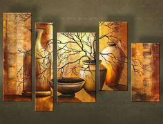 Ručne maľovaný obraz VÁZY 5 dielny 4957FA