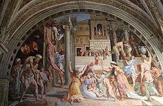 El incendio del Borgo (1514), Escuela de Rafael Sanzio. Se asume que Rafael hizo los dibujos para la compleja composición, pero el fresco fue en su mayor parte obra de su asistente Giulio Romano.  Estancias de Rafael, Museos Vaticanos,