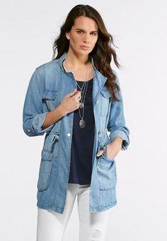 3011d954140f5 Cato Fashions Chambray Utility Jacket  CatoFashions Utility Jacket