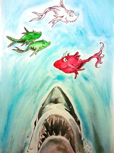 """""""One Fish, Two Fish, Red Fish, Great White"""" ...For some reason I love this!"""
