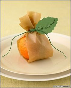 I really love this idea and you could use any fruit that fit your theme or color scheme. Brown parchment paper you can but at the grocery store a little twine and Voila!!