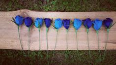 Blue Roses Crepe Paper Wedding Centerpices. table by moniaflowers