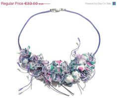 ON SALE Purple Fabric Necklace Textile by AmazoniaAccessories, €28.05