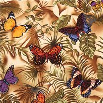 beige exotic butterfly fabric Timeless Treasures USA