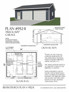 Two Car Garage With Shop Plan No 1200 1 40 39 X 30 39 By Behm