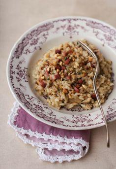 risotto alle nocciole, rosmarino e pancetta affumicata.
