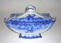 Procleain Tureen | Blue & White Porcelain Soup Tureen.