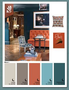 teal and orange living room decor - But I want a blue couch with orange walls