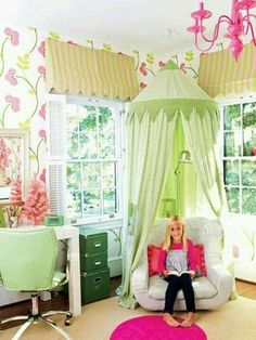 So colorful... reading nook in a kid's room.