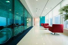 Colored glass wall