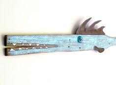 Large driftwood original fish sculpture. Funky original rustic fish art, david BUOY