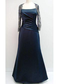 Blue Flat Charming A-line Ruched Floor Length Satin Mother of Groom Dresses ,Mother of Bride Dresses,