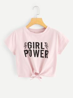 Letter Print Knot Crop TeeFor Women-romwe - Knot T Shirt - Ideas of Knot T Shirt - Letter Print Knot Crop TeeFor Women-romwe Cute Comfy Outfits, Cute Girl Outfits, Cute Summer Outfits, Stylish Outfits, Cool Outfits, Girls Fashion Clothes, Kids Outfits Girls, Teen Fashion Outfits, Teenager Outfits