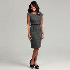 @Overstock - Need to dress to impress with ease? This gray, scoop-necked, belted dress from Connected Apparel is the answer. Wear this lovely jacquard number to work, then add a glitzy necklace or some red accessories to make an easy transition to evening.http://www.overstock.com/Clothing-Shoes/Connected-Apparel-Womens-Grey-Belted-Dress/6537374/product.html?CID=214117 $53.99