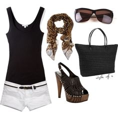 I love white shorts with black! Love the scarf and shoes :)