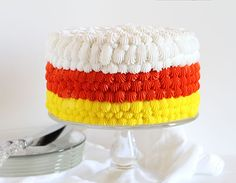 Candy Corn Cake! Included a full tutorial on how to decorate!