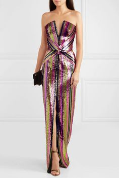 Rasario | Strapless sequined crepe gown | NET-A-PORTER.COM
