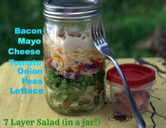7 layer salad in a mason jar