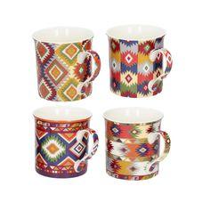 Sada hrnčekov Ethnic Aztec 4 ks - 300ml     #keramika#hrnceky#kava#kuchyna#jedalen Aztec, Ethnic, Mugs, Medium, Tableware, Kitchen, Kitchen Dining Rooms, Tumblers, Tablewares