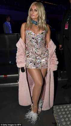 Bebe Rexha makes SEVEN outfit changes during the MTV EMAs - Pretty in pink: Topping things off with a retro twist, the stunning singer wrapped a floor-length pi - Bebe Rexha, Pantyhose Outfits, In Pantyhose, Sugar Baby, Pink Fur Jacket, Rich Girls, Shows, Dance Outfits, Stage Outfits