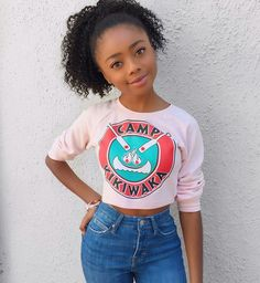 Skai Jackson on set of Bunk'd Skai Jackson, Percy Jackson, Black Girl Fashion, Tween Fashion, Beautiful Black Women, Beautiful People, Disney Actresses, Girl Outfits, Cute Outfits