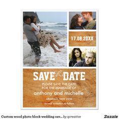 Custom wood photo block wedding save the date 4.25x5.5 paper invitation card