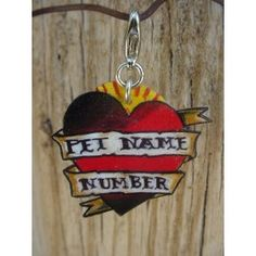 Custom Vintage Tattoo Heart and Banner Pet Id Tag