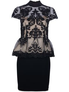 ALICE+OLIVIA - Lace Peplum Dress