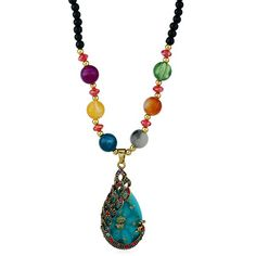 Waterdrop Rhinestone Inlay Peacock Pendant Beaded Necklace #shoes, #jewelry, #women, #men, #hats, #watches