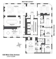 535 West End Avenue, New York. Penthouse. Architecture, floor plans, design