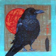 Oil paintings of Ravens and Crows by award winning Native American artist Karen Clarkson.
