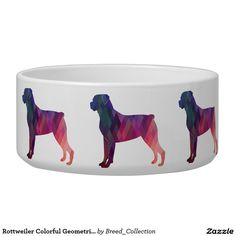 Rottweiler Colorful Geometric Pattern Silhouette Pet Water Bowl