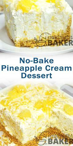 No-Bake Pineapple Cream Dessert Related posts: Oreo Cream Dessert von Cool Whip Desserts, Pudding Desserts, Köstliche Desserts, Delicious Desserts, Yummy Food, Campfire Desserts, Pineapple Dessert Recipes, Best Dessert Recipes, Cheesecake Recipes