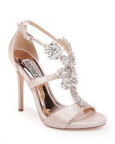 Badgley Mischka Leah Embellished T-Strap Sandals