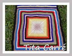 Tita Carré  Agulha e Tricot : Colcha\Manta em squares retangular colorida
