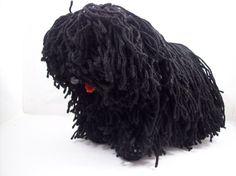 Crocheted Hungarian Puli dog by vizhanyonekriszta on Etsy