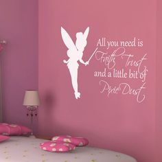 Princess - All You Need Is Faith Trust and a Little Bit of Pixie Dust - Girls Bedroom Vinyl Wall Decal Art