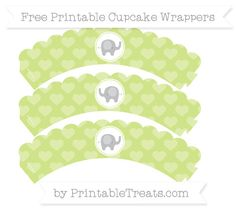 Free Pastel Lime Green Heart Pattern Baby Elephant Scalloped Cupcake Wrappers