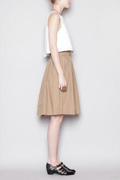 apiece apart knee length a-line peach skirt | spring summer style