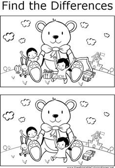 Find the differences between the two pictures in this printable coloring page featuring a boy and girl playing with a giant teddy bear.