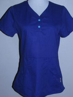 KOI by Kathy Peterson Sz SM Purple Scrub Top NWOT Hand Pockets Turquoise Buttons #Koi