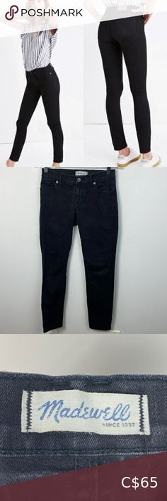 """Madewell Black Skinny Skinny Jeans Womens Size 26 Madewell Black Skinny Skinny Jeans Womens Size 26 - 92% cotton, 6% polyester and 2% elastane - zipper fly with button closure - 5 pocket styling - machine washable Very good pre-loved condition. No visible flaws. Approximate Measurements: Waist: 13.5"""" Rise: 8"""" Inseam: 28"""" Hips: 17"""" Madewell Jeans Skinny Green Skinny Jeans, Skinny Ankle Jeans, Mid Rise Skinny Jeans, Cropped Skinny Jeans, High Jeans, Sports Skirts, Leather Mini Dress, Boat Neck Tops, Madewell Denim"""