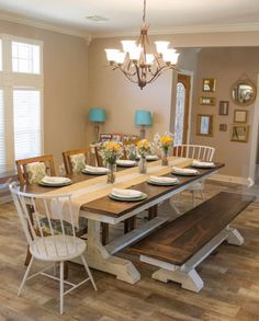 Farmhouse table plans & ideas find and save about dining room tables . See more ideas about Farmhouse kitchen plans, farmhouse table and DIY dining table Farmhouse Table Plans, Farmhouse Dining Room Table, Kitchen Dining, Dining Rooms, Kitchen Tables, Modern Farmhouse, Farm House Tables, Large Dining Room Table, Farmhouse Ideas